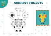 Connect The Dots Kids Mini Game Vector Illustration. Preschool Children Education Activity With Join poster
