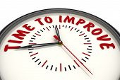 Time To Improve. Clock With Text. Analog Clock With Red Text Time To Improve. Isolated. 3d Illustrat poster