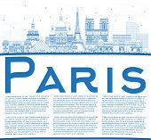 Outline Paris France City Skyline with Blue Buildings and Copy Space. Business Travel and Concept wi poster