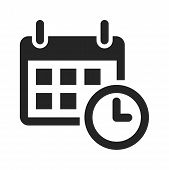 Calendar And Time Icon Isolated On White Background. Calendar And Time Icon In Trendy Design Style.  poster