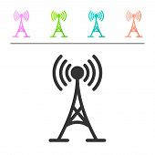 Grey Antenna Icon Isolated On White Background. Radio Antenna Wireless. Technology And Network Signa poster