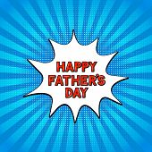 Comics Lettering Happy Fathers Day On Bright Blue Background. Retro Fathers Day Greeting Card In Pop poster