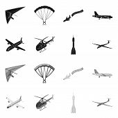 Isolated Object Of Transport And Object Symbol. Set Of Transport And Gliding  Vector Icon For Stock. poster