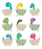 Cute Cartoon Dinosaurs Baby Collection. Vector Illustration poster