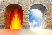 stock photo of satan  - Two gates to heaven and hell - JPG