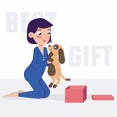 The Child Holds A Puppy. Best Gift. Vector Illustration For Web Design, Banner, Sticker. Caring For  poster