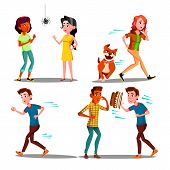 Color Design Afraid Character People Set Vector. Young Woman Afraid Spider And Running Away From Dog poster
