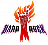 Rock Hand Sign On Fire, Hot Music Rock And Roll Gesture In Flames, Hard Rock Festival Concert Or Clu poster