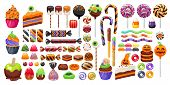 Halloween Sweet Treats Set. Candies And Snacks. - Hard Candy, Chocolate Egg And Bar, Candy Cane, Lol poster