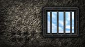 stock photo of lockups  - riveted steel prison window  - JPG