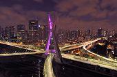 Estaiada Bridge Aerial View. Sao Paulo, Brazil. Business Center. Financial Center. Great Landscape.  poster