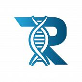 Letter R Logo. Dna Icon Flat Vector Illustration For Logo, Abstract, Vintage Old Style Logo Icon Mon poster