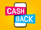 Creative Illustration Of Cash Back, Cashback Return, Money Refund Tag Isolated On Background. Art De poster
