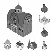 Vector Illustration Of Landmark And Clergy Icon. Set Of Landmark And Religion Vector Icon For Stock. poster