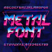 80s Metal Alphabet Font. Letters, Numbers And Symbols On Abstract Background. Stock Vector Typescrip poster