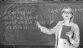 Teacher Smart Woman With Book Explain Topic Near Chalkboard. School Teacher Explain Things Well And  poster