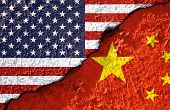 Closeup Crack Of Usa Flag And China Flag .it Is Symbol Of Tariff Trade War Crisis Between United Sta poster