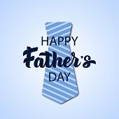 Vector Fathers Day Hand Drawn Lettering Greeting Card With Paper Cut Necktie. Daddy Tie With Line P poster