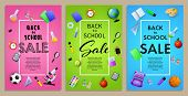 Back To School Sale Flyer Design With Sport Balls, Paints, Backpack And Other Supplies. Pink, Green, poster