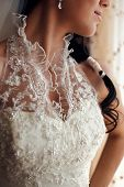 stock photo of low-necked  - Portrait of a beautiful brides low - JPG