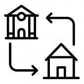 Mortgage Accommodation Icon. Outline Mortgage Accommodation Vector Icon For Web Design Isolated On W poster