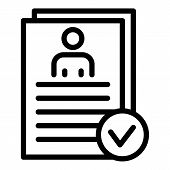 Personal Data Check Icon. Outline Personal Data Check Vector Icon For Web Design Isolated On White B poster