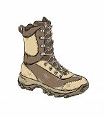 Vector Drawing Of Boot In Brown Color, Isolated On White Background. Drawing For Posters, Decoration poster