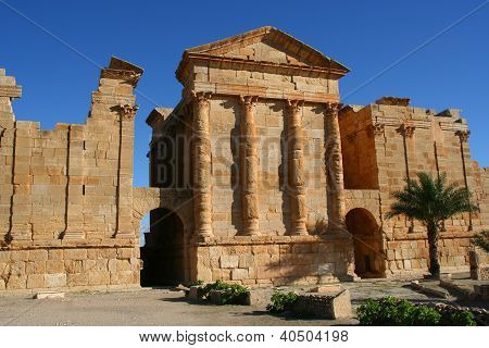 Ancient Temples in the Ancient Roman City of Sbeitla, Tunisia