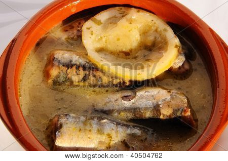 Sardines in lemon sauce tapas, Spain.