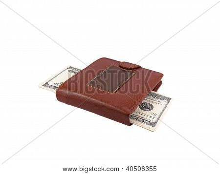 Money dollars in leather purse isolated on white background