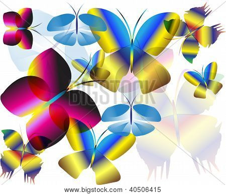 Multicolor Flying Butterfly Wall Background