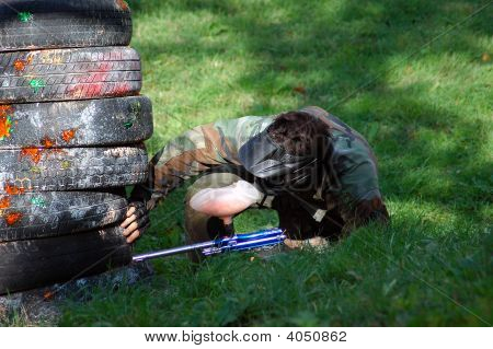 Airsoft Game, Player Is Hidden Atack Position