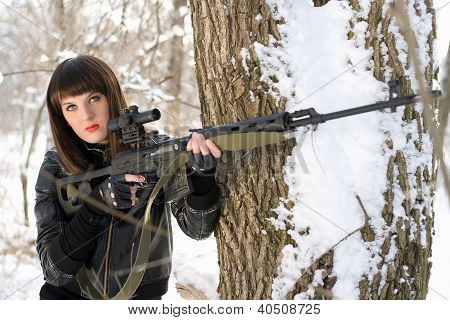 Lady With A Sniper Rifle