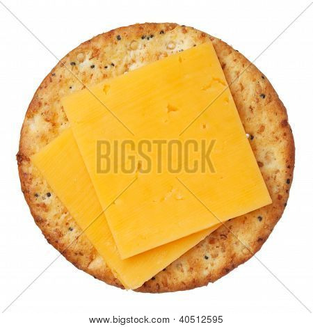 Whole wheat cracker and cheese, isolated on white background, close-up.