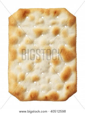Water cracker isolated on white background, close-up