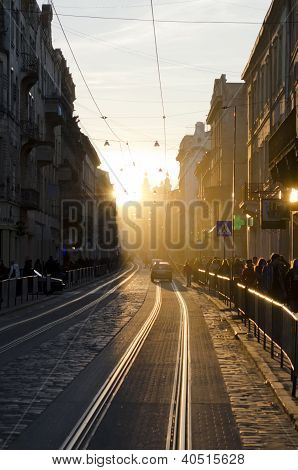 Center Of Lviv In New Year's Eve
