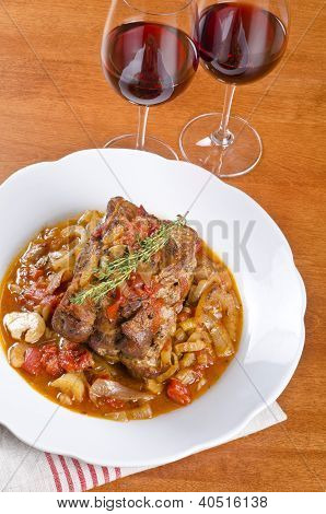 Roasted Pork Served with Red Wine