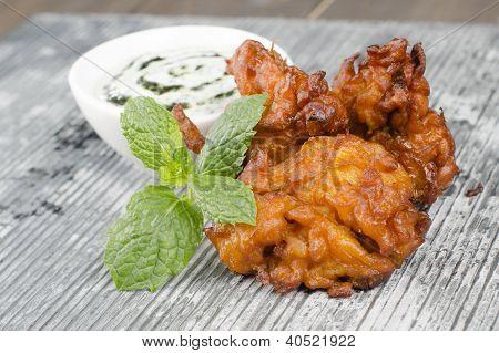 Onion Bhajis & Mint Raita