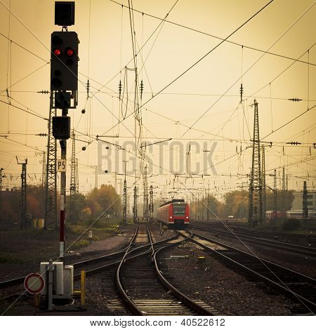 Mobile photography tone red train on railway track