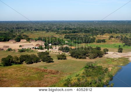 Aerial Of Amazon Indian Village