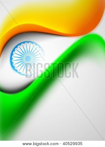Indian flag color creative wave background with Asoka wheel. EPS 10.