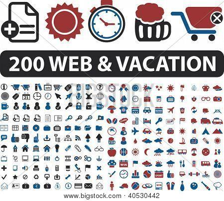 200 web & vacation icons set, vector