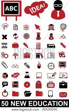 50 education, school icons set, vector
