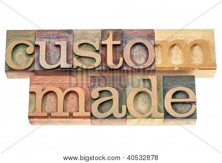 custom made - isolated words in vintage letterpress wood type printing blocks