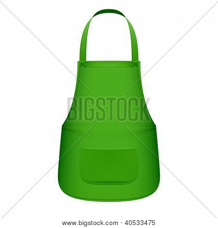 Green kitchen apron. Vector.