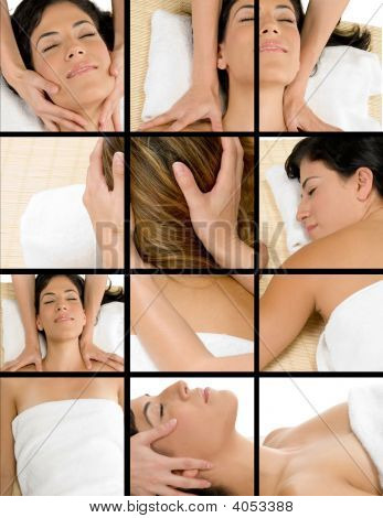 Different Poses Of Woman Getting Massage
