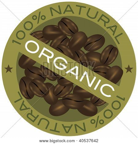 Coffee Beans Organic Label Illustration