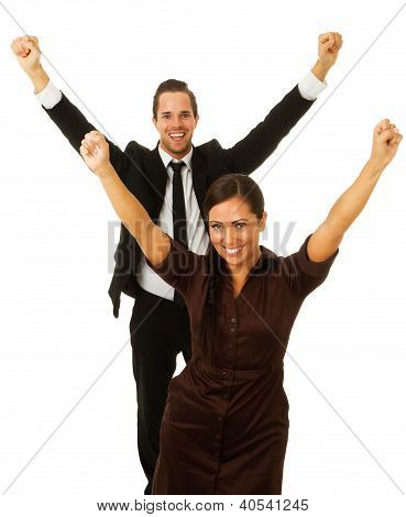 Business Man And Woman With Arms In Air