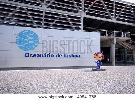 Entrance And Signboard Of Oceanarium, Lisbon, Portugal