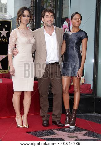 LOS ANGELES - NOV 07:  Berenice Marlohe, Javier Bardem & Naomi Harris arriving to Walk of Fame Honors Javier Bardem  on November 07, 2012 in Hollywood, CA